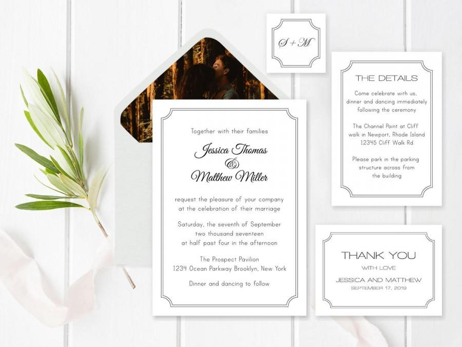 Wedding - Wedding Invitation Suite Templates, Modern Printable Wedding Invitation, Details, Thank You, RSVP, Envelope Liners Templates, DIY You Print - $18.00 EUR