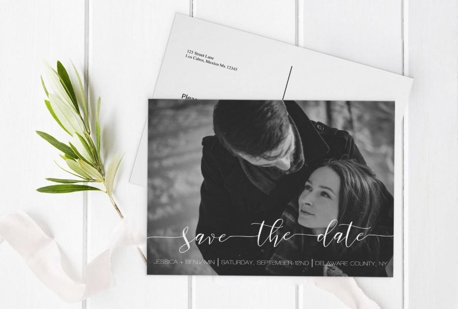 Wedding - Calligraphy Photo Save the Date Postcard, Printable Photo Save Date Postcard, Custom Save the Dates Photo Card, Editable PDF, DIY You Print - $13.00 EUR