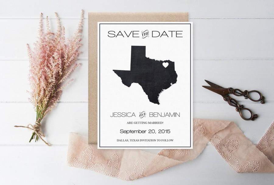 Chalkboard Texas Save The Date Template, Texas State Map Wedding ...