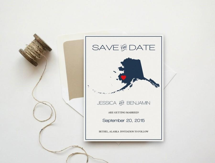Alaska Save The Date Template Alaska State Map Wedding Save The