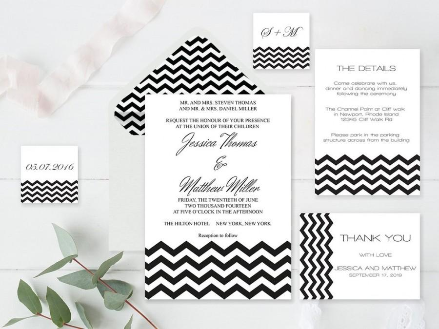 Wedding - Black Chevron Wedding Invitation Suite Templates
