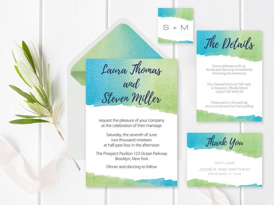 Watercolor Wedding Invitation Suite Templates, Envelope Liners ...