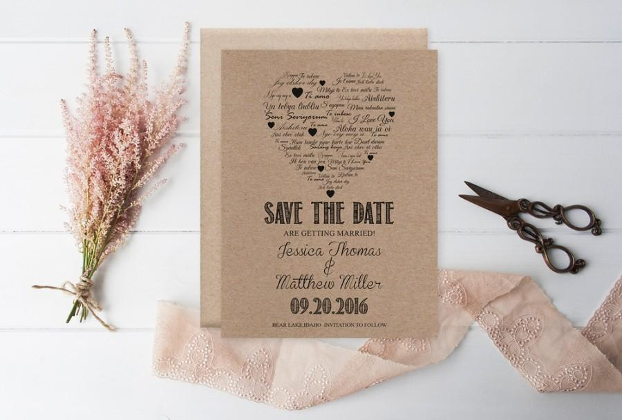 Wedding - Kraft Paper Save the Date Template, I Love You other Languages Heart, Rustic Printable Wedding Save the Date PDF Templates, Editable PDF, DIY You Print by DIYprintable