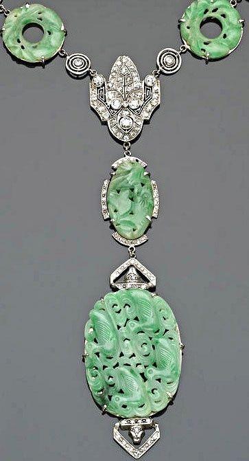 Свадьба - An Art Deco Jadeite Jade, Diamond And Platinum Necklace, Circa 1925.