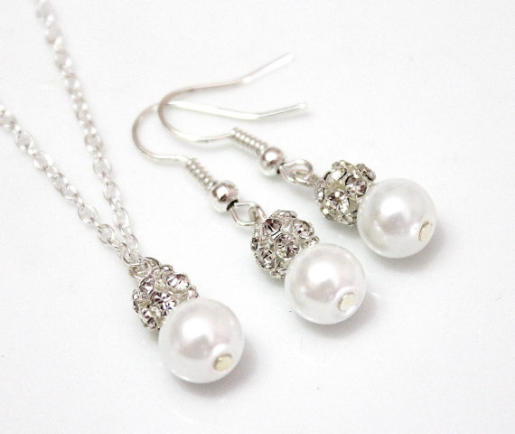 Свадьба - Set of 3.4.5.6.7.8Bridesmaid Necklace & Earrings, Sterling Silver Chain, Pearl and Rhinestone Necklace, Pearl Necklace, Necklaces Gift Ideas