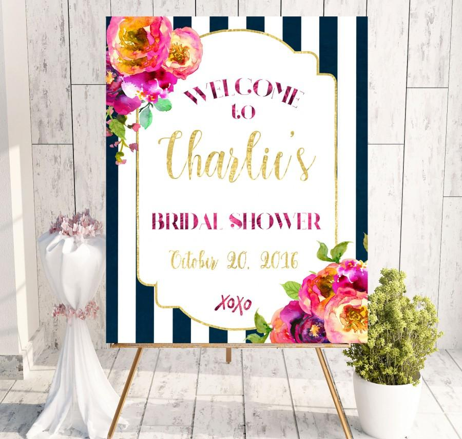 Wedding - Instant Download Bridal Shower Welcome Sign Hot pink Bridal Shower xoxo decoration Chalkboard Bridal Shower banner Welcome Sign idbs39 - $10.00 USD