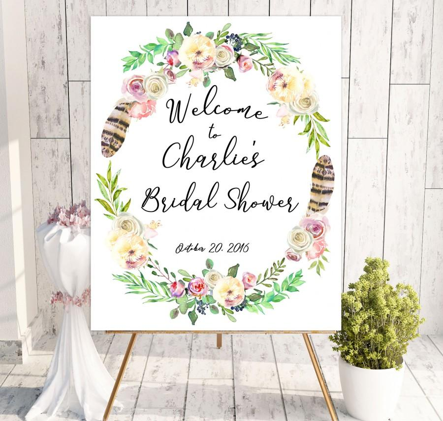 image relating to Printable Bridal Shower Signs known as Boho Stylish Welcome Bridal Shower Indication Printable Bridal Shower