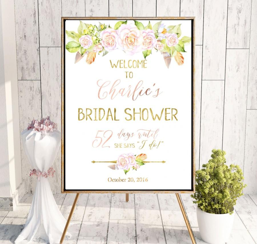 Hochzeit - Boho Chick Bridal Shower Welcome Sign Bridal Brunch Sign Welcome Printable Sign Says I Do Sign Shower Blush Pink Roses Bridal Shower idbs14 - $12.00 USD
