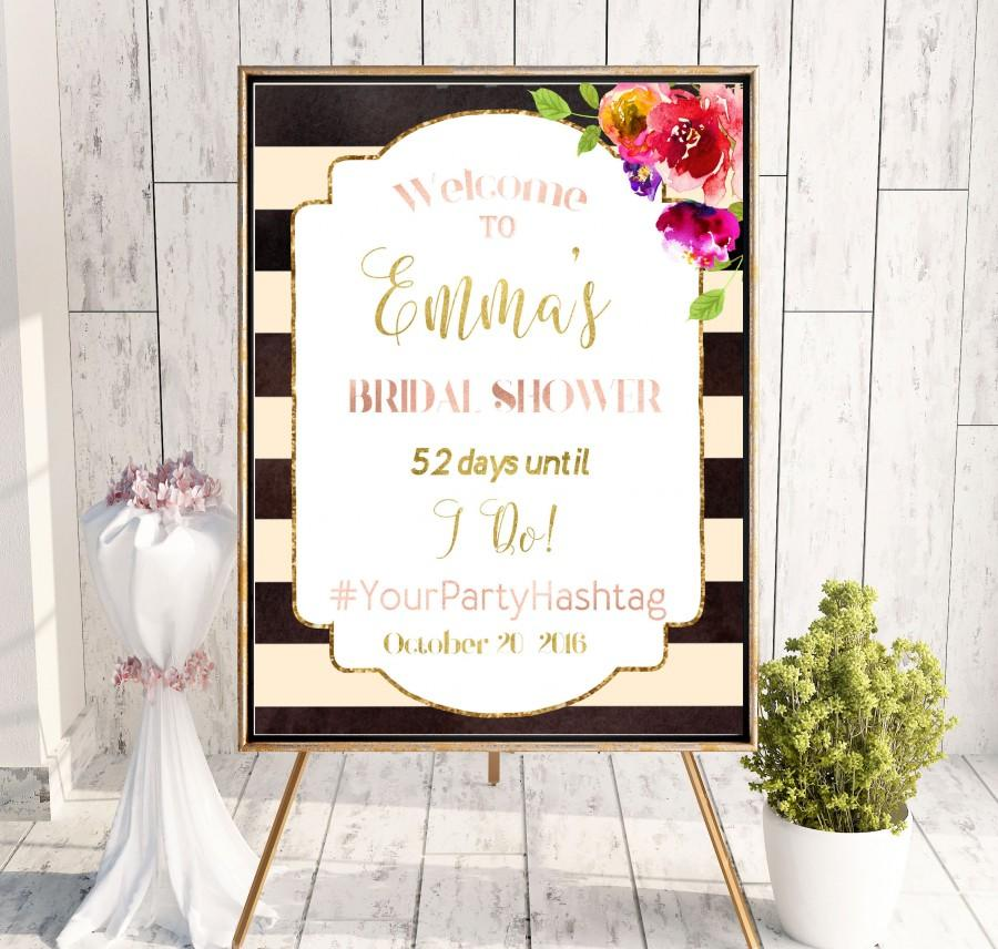 Bridal Shower Welcome Sign Brunch Printable Says I Do Pink Hashtag Black White Idbs5