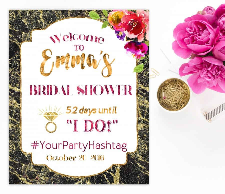 Wedding - Welcome Bridal Shower Sign Bridal Brunch Sign Welcome Printable Sign she Says I Do Sign Shower Gold Hot pink Hashtag Bridal Shower idbs3 - $15.00 USD