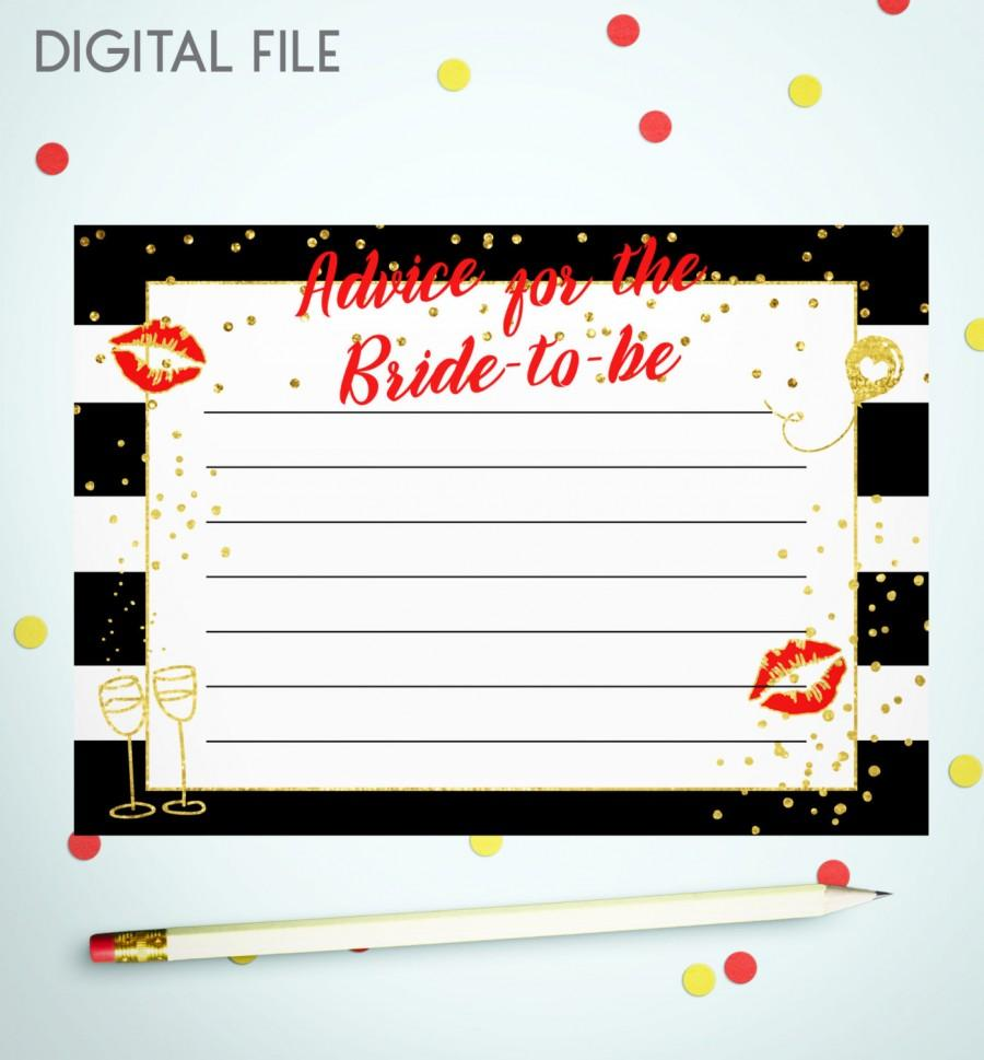 Wedding - Advice For The Bride To Be Red Gold Confetti Printable Card Bridal Shower Advice Cards Wedding Advice For The Bride game idkbg4 - $5.50 USD