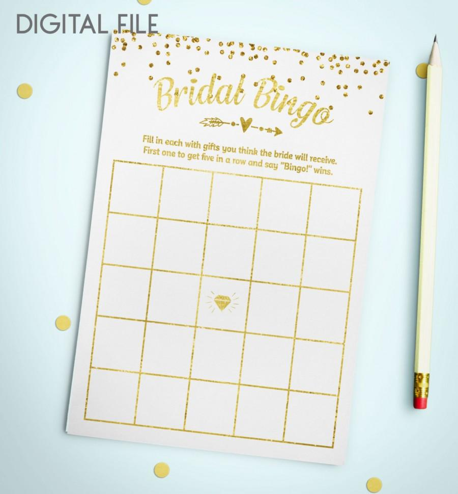 Wedding - Bingo Game Download Bridal Bingo Gold Foil Confetti Bridal Shower Bingo Printable Bridal Shower Bingo Game Instant Download idkbg1 - $5.50 USD