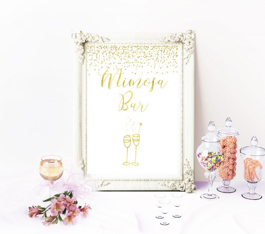 Mariage - Mimosa bar sign Instant Download Bubbly Bar Sign Mimosa bar printable Champagne bar sign Confetti Gold Bridal Shower Decor Mimosa sign idr2 - $5.50 USD