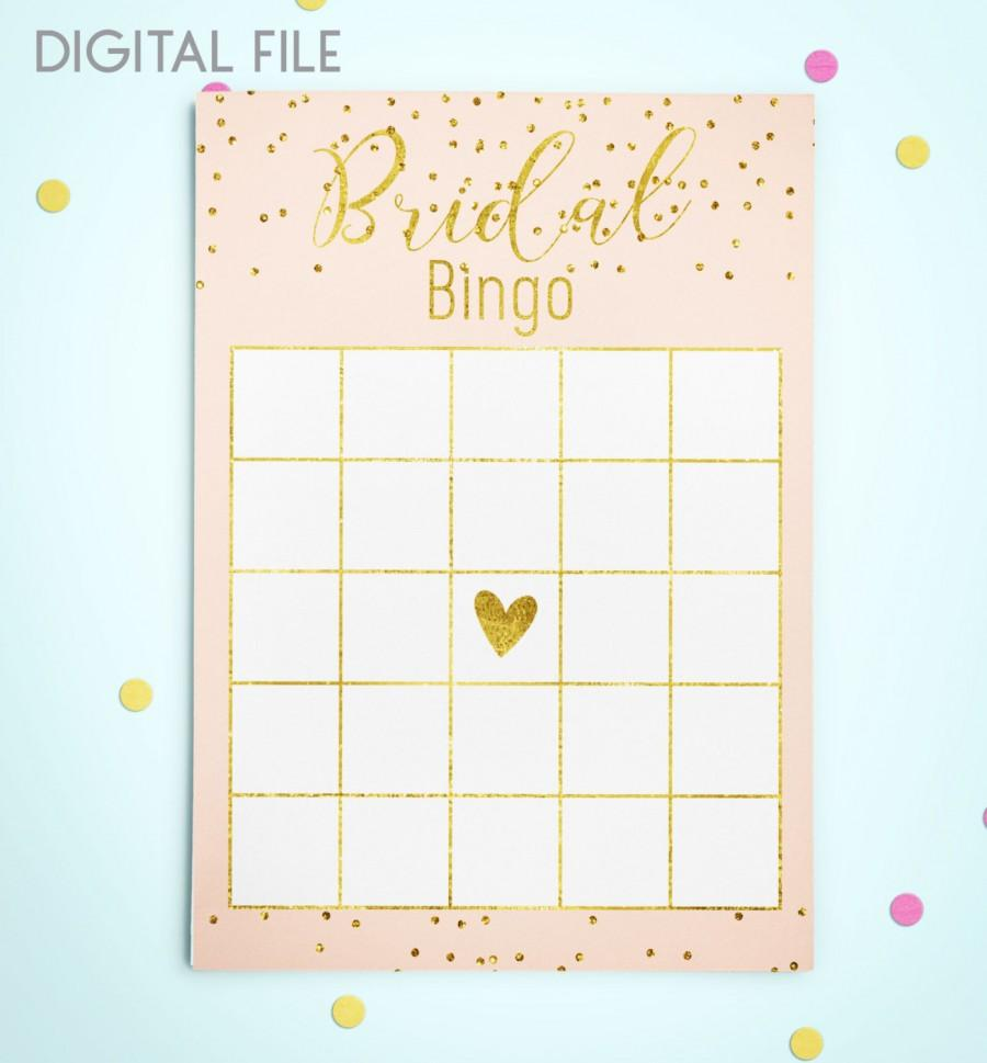 Mariage - Bingo Game Download Bridal Bingo Gold Foil Confetti Bridal Shower Bingo Pink Printable Bridal Shower Bingo Game Instant Download idkbg2 - $5.50 USD