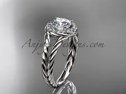 Mariage - 14kt white gold halo rope diamond engagement ring RP8131