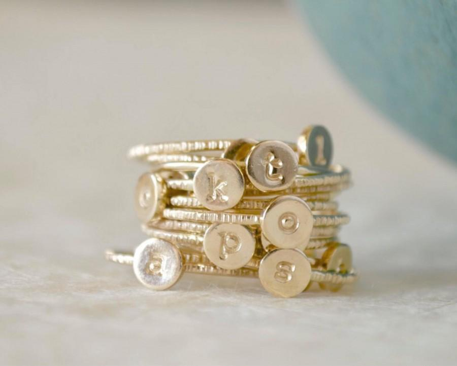 Свадьба - Stacking Initial Rings - Gold-Filled Set of Three, Custom, Personalized, Monogram Ring, Stackable Initials, Midi