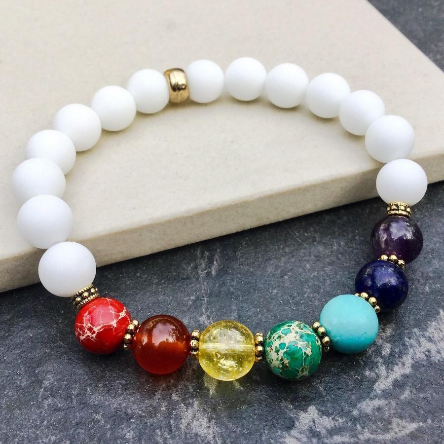 Seven Chakras Bracelet Stretch Yoga Mala Meditation Energy 7 Stones Healing Protection