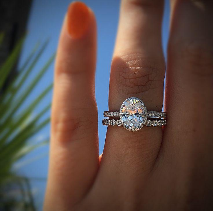 Halo Engagement Ring With Eternity Band