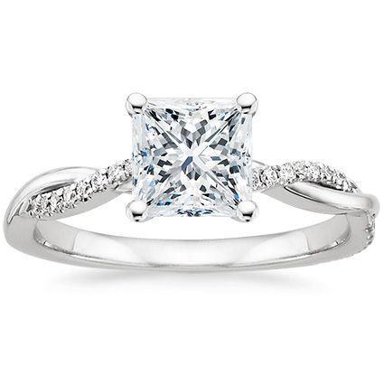 زفاف - Platinum Petite Twisted Vine Diamond Ring