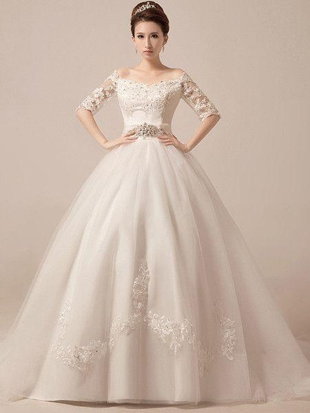 Wedding - Off Shoulder Ball Gown Wedding Dress Debutante Ball Gown With Sleeves