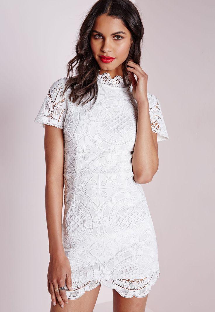 Mariage - Missguided - Lace Short Sleeve Scalloped Hem Dress White
