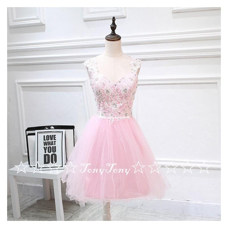 08ec88b3099 Pink Tulle Ivory Lace Appliqued Homecoming Dresses
