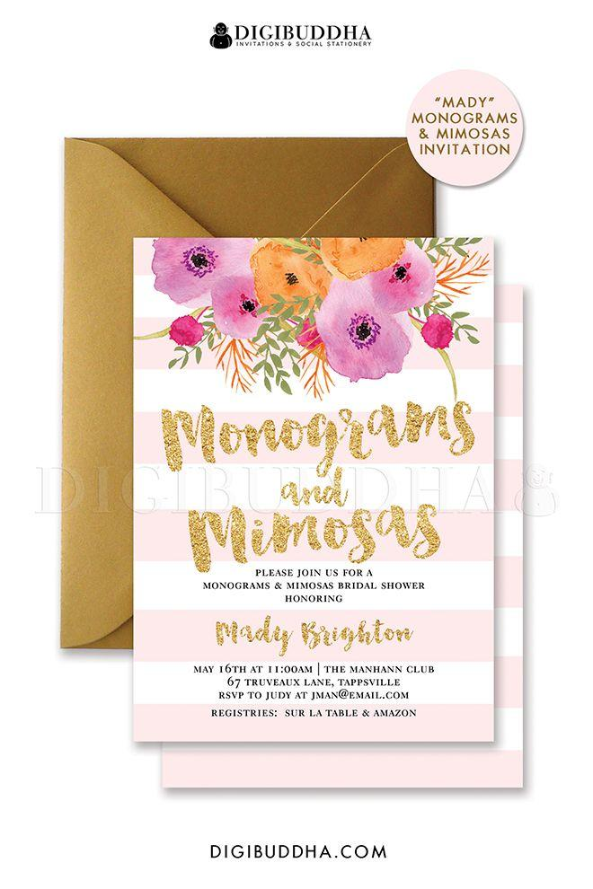 monograms mimosas invitation blush pink stripes bridal shower invitation gold glitter flower wedding free shipping or diy printable mady