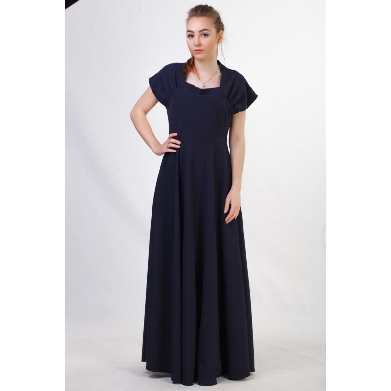 Wedding - Long navy blue formal dress Dark blue evening dress Navy bridesmaid dress Modest bridesmaid dress Long bridesmaid dresses - Hand-made Beautiful Dresses
