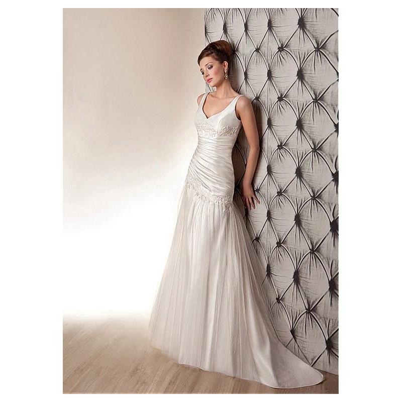 Wedding - Glamorous Satin & Tulle V-neck Neckline Asymmetrical Waistline A-line Wedding Dress With Lace Appliques - overpinks.com