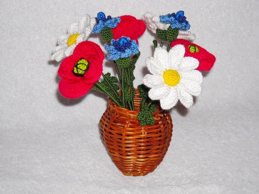 Meadow Flowers Bouquet Crochet In Vase Crochet Flowers Home Decor ...