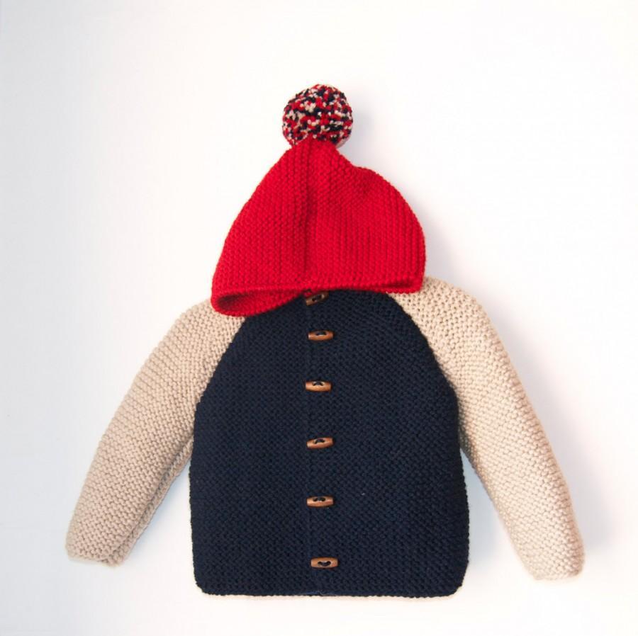 58947bbe3 Hand Knitted Baby Boy Wool Hoodie Cardigan Jacket