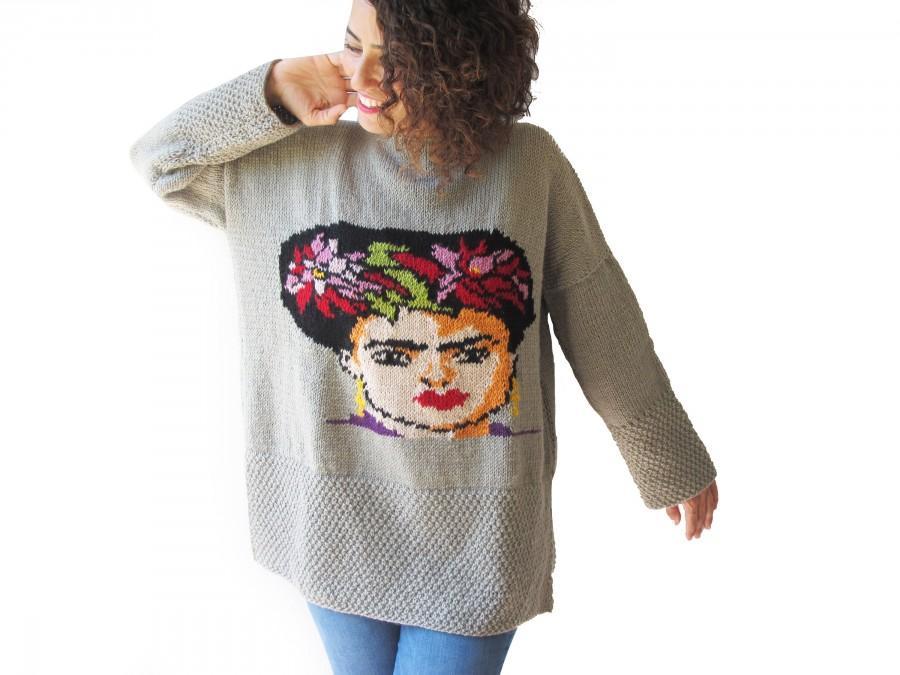 زفاف - Frida Kahlo Hand Knitted Sweater