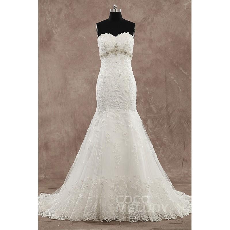 زفاف - Hot Sale Sweetheart Train Tulle Ivory Sleeveless Wedding Dress with Beading and Appliques - Top Designer Wedding Online-Shop