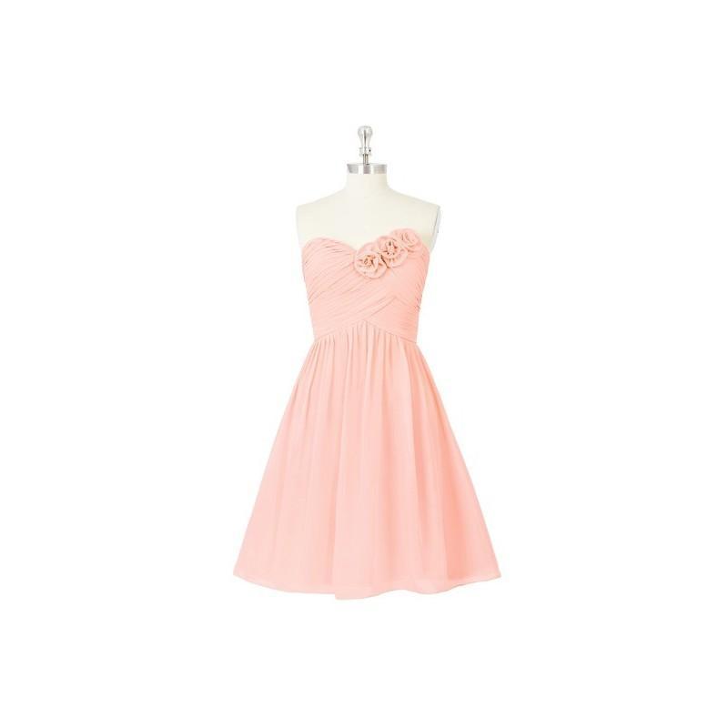 زفاف - Coral Azazie Kelsey - Sweetheart Back Zip Knee Length Chiffon Dress - Cheap Gorgeous Bridesmaids Store