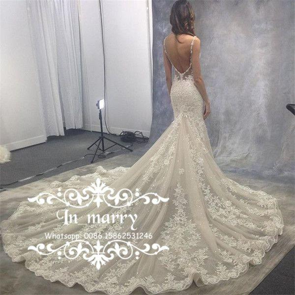 fcb7b07701548 Cheap Exquisite Full Lace Low Back Mermaid Wedding Dresses 2017 Sexy ...