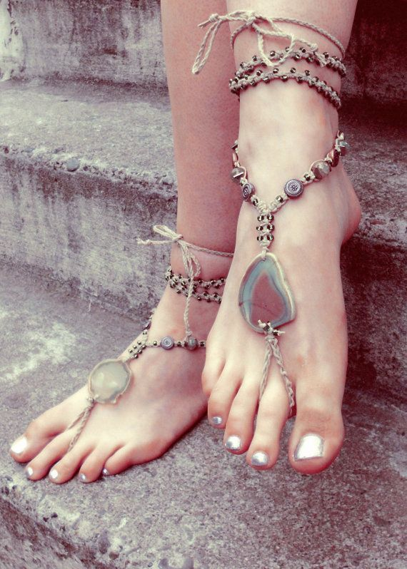 Wedding - Rustic Gypsy Barefoot Sandals. Bohemian Macrame Jewelry. Micromacrame Bottomless Sandals. Sexy Beach Or Festival Anklet