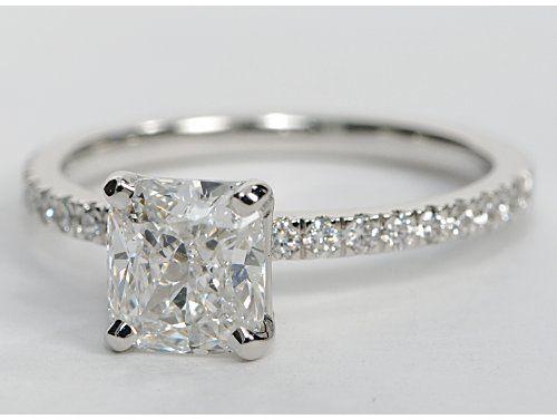 Hochzeit - 1.55 Carat Diamond Petite Pavé Diamond Engagement Ring