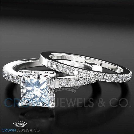 Engagement Ring Wedding Bridal Set For Women 1 5 Ct Princess Cut