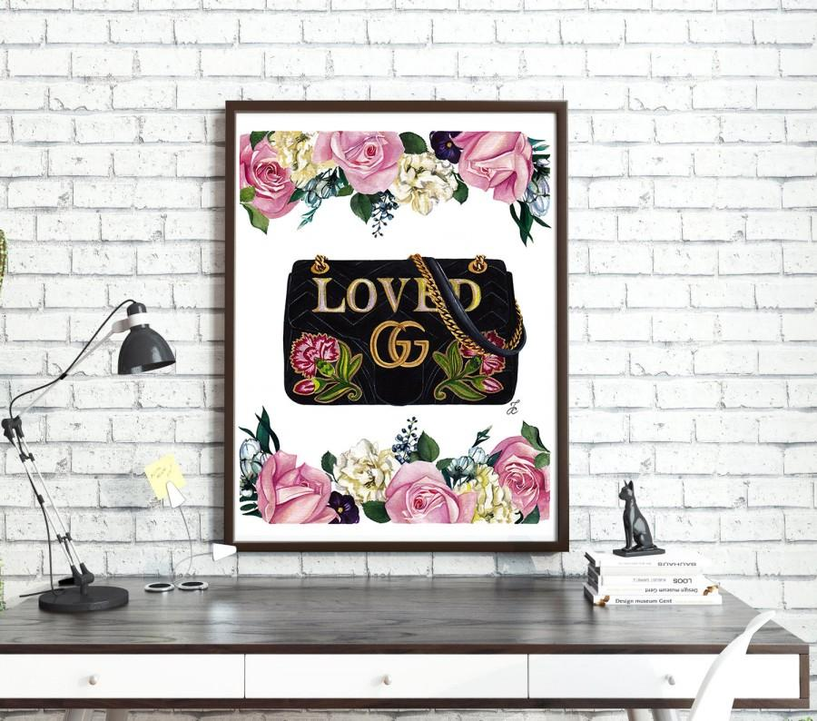Mariage - Gucci, Gucci print, Flowers print, Watercolor flowers, Pink roses print, Fashion illustration, Fashion print, Gucci bag, Gucci illustration
