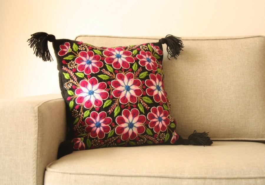 Floral Pattern Embroidered Pillow Floral Design Handcrafted Pillows