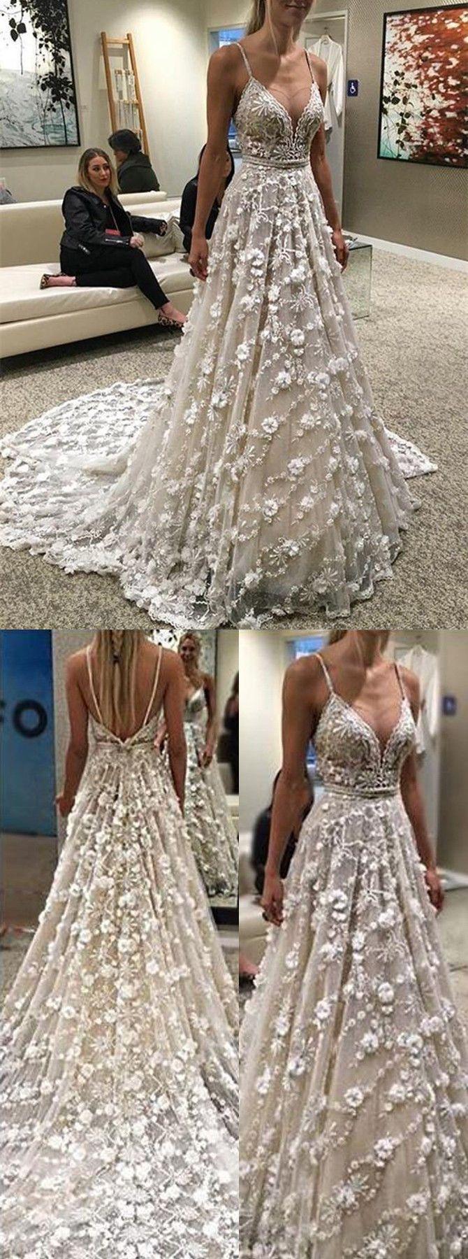 Свадьба - Stunning Spaghetti Straps Court Train Backless Wedding Dress With Beading Waist