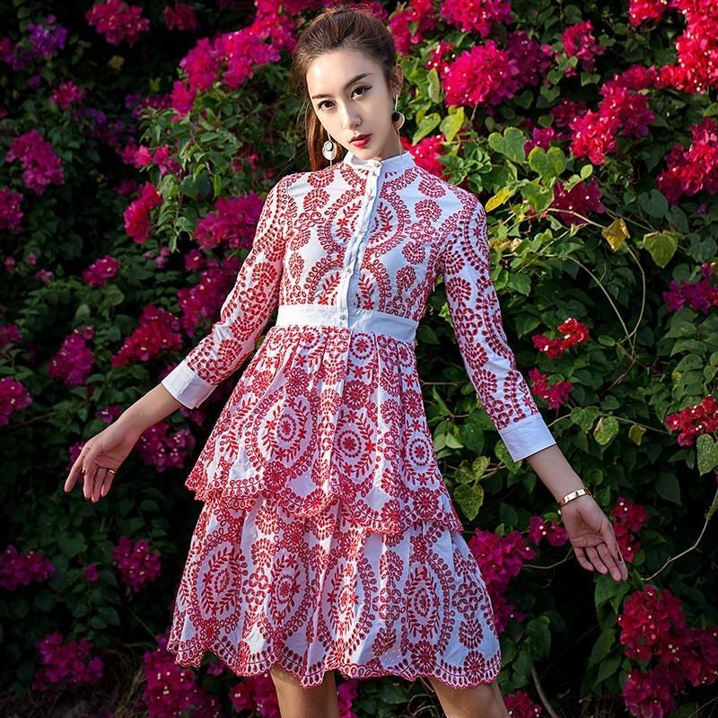 Свадьба - 2017 summer dress new scalloped embroidery spliced A-line skirt dress women's - Bonny YZOZO Boutique Store