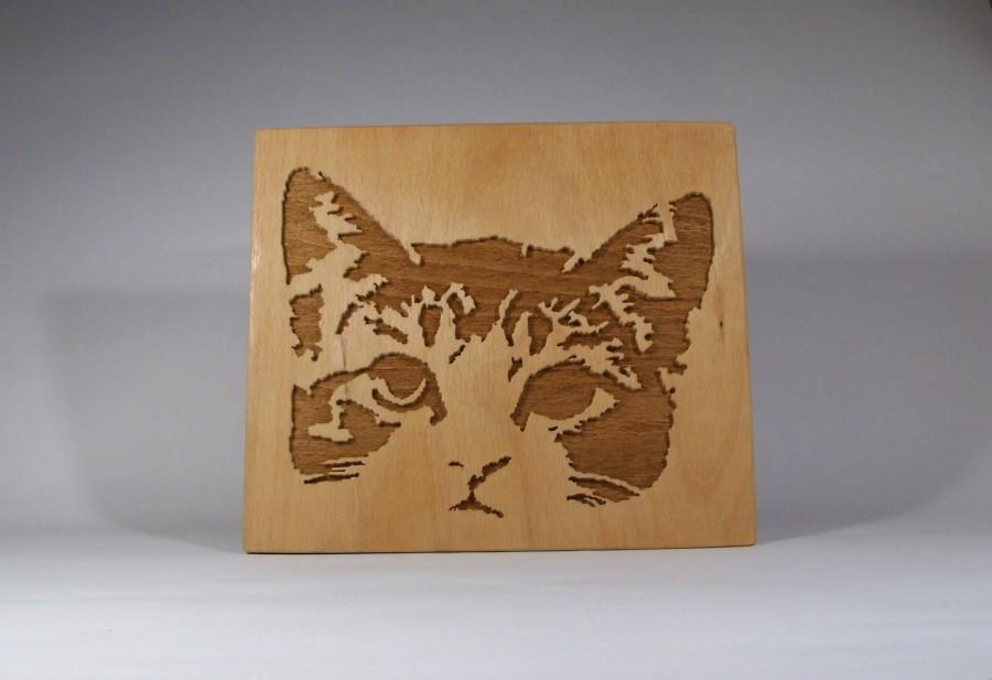 Scroll Saw Cat Picture Handmade Picture Art Wood Decor Wall