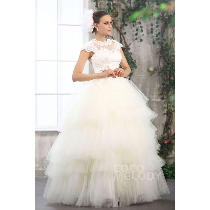 Fantastic Ball Gown Illusion Neckline Floor Length Tulle Wedding ...