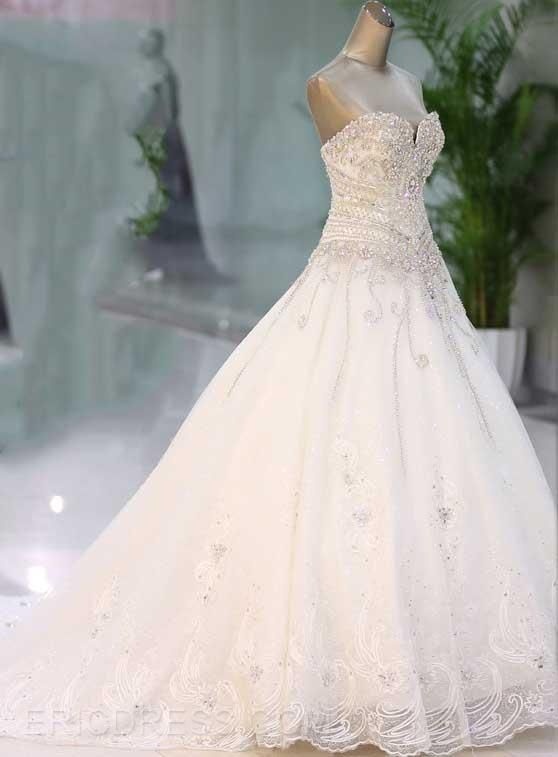 399.39 Sweetheart Rhinestone Appliques Cathedral Wedding Dress ...