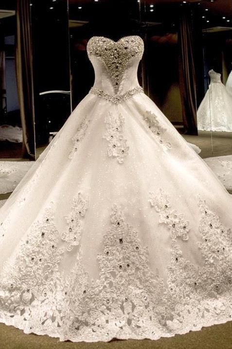 Wedding - Luxurious Sweetheart Ball Gown Wedding Dress 2016 Crystal Beadings Long Train_High Quality Wedding Dresses, Quinceanera Dresses, Short Homecoming Dresses, Mother Of The Bride Dresses - Buy Cheap - China Wholesale