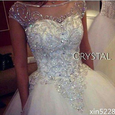Mariage - Bridal Ball Gown Wedding Dresses Dazzling Princess Luxury Bling Crystal Handmade