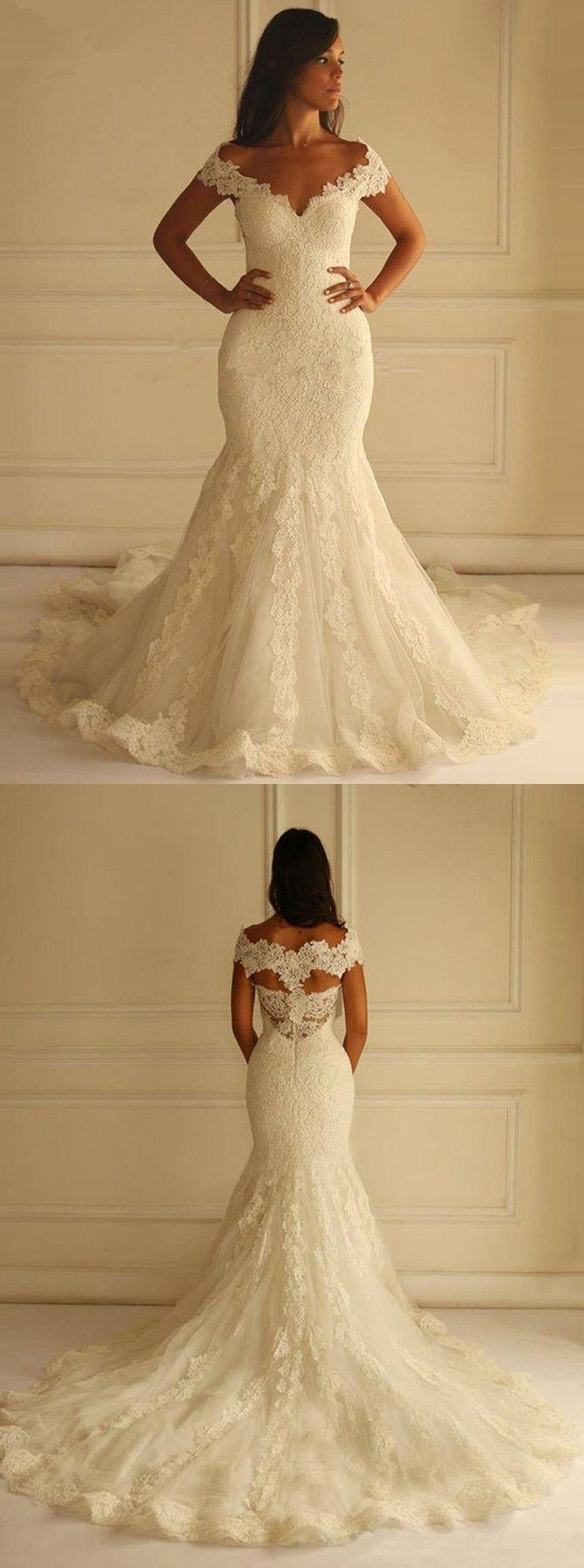 Mariage - Special Off Shoulder Court Train Short Sleeves Mermaid Lace Wedding Dress With Appliques