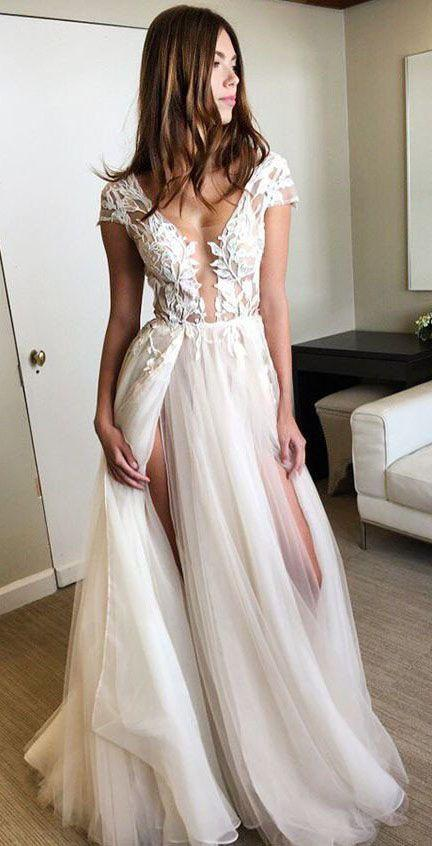 Mariage - Cap Sleeve Deep V-neck Prom Gown With Appliques,Sexy Split 2017 Tulle Prom Dresses,N99