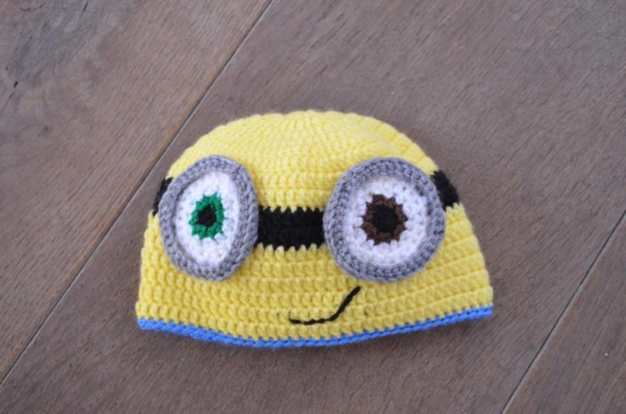 Crochet Minion hat - Newborn minion bob hat - Hat for baby boy or baby  girl- pregnancy announcement - gender neutral hat - baby shower gift 21ee426a4ac